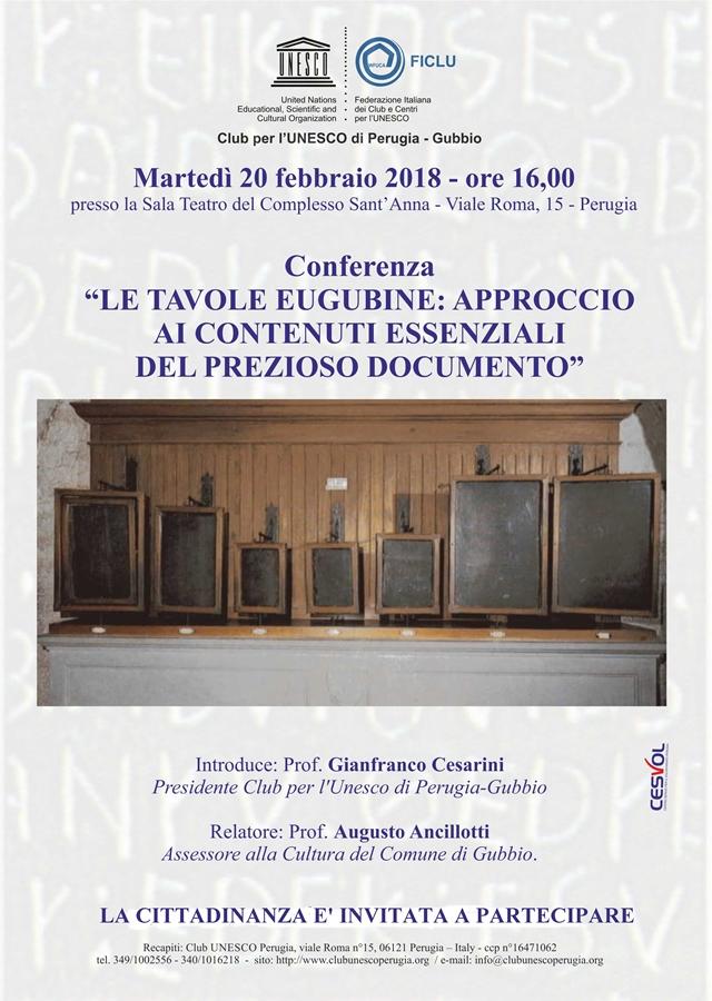 Unesco 20 febbraio 2018 TAVOLE EUGUBINE